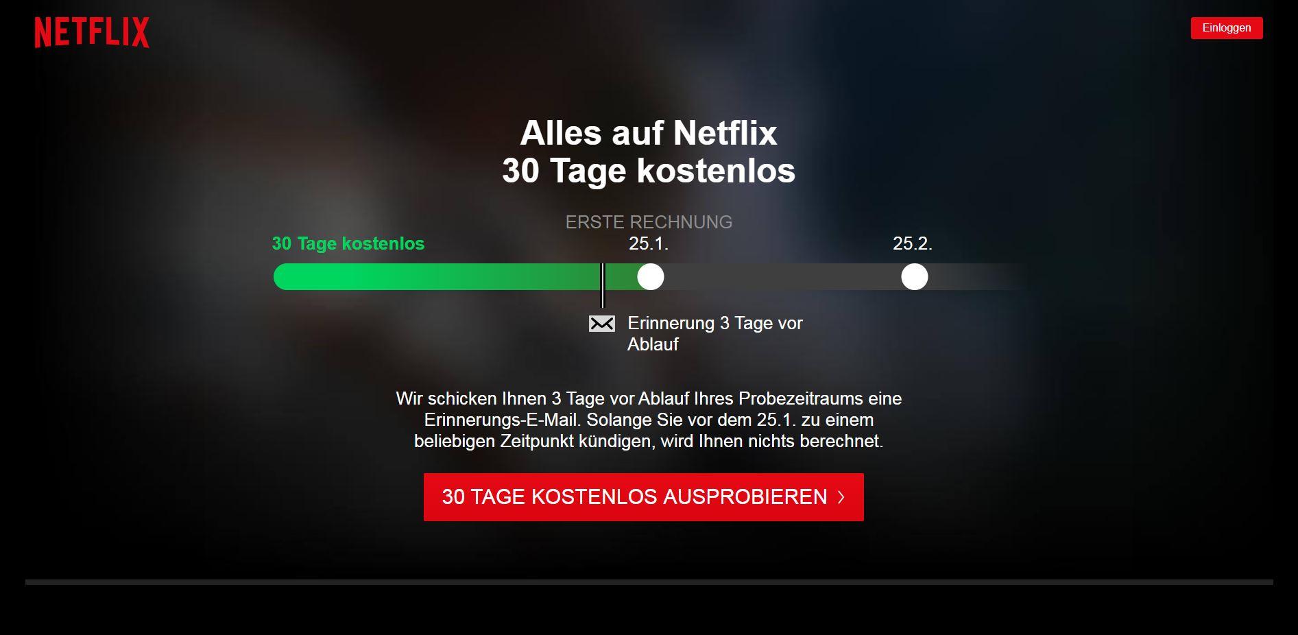Netflix Anmeldung Startseite