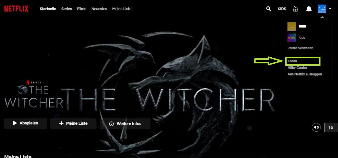 Netflix-Startseite - Auf-Konto klicken